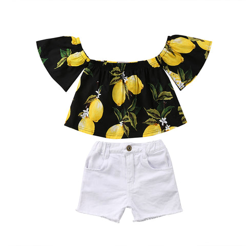 Lemon Off Shoulder & Shorts