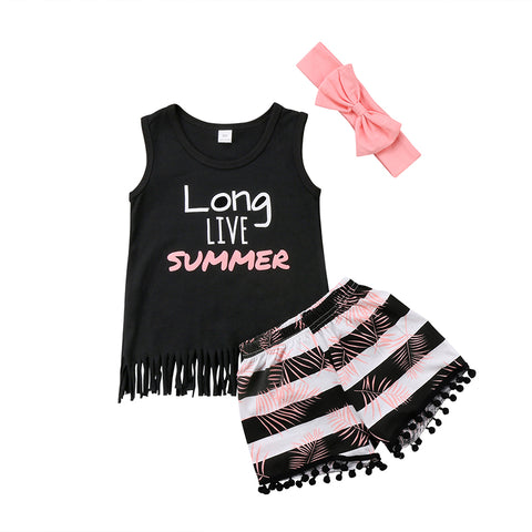 Long Live Summer Top + Shorts 3pcs Set