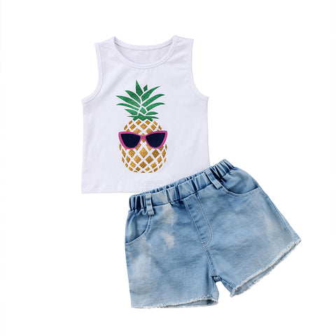 Pineapple Top + Denim Shorts
