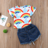 Rainbow Top + Distressed Shorts