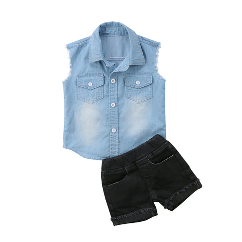 Denim Vest & Black Shorts