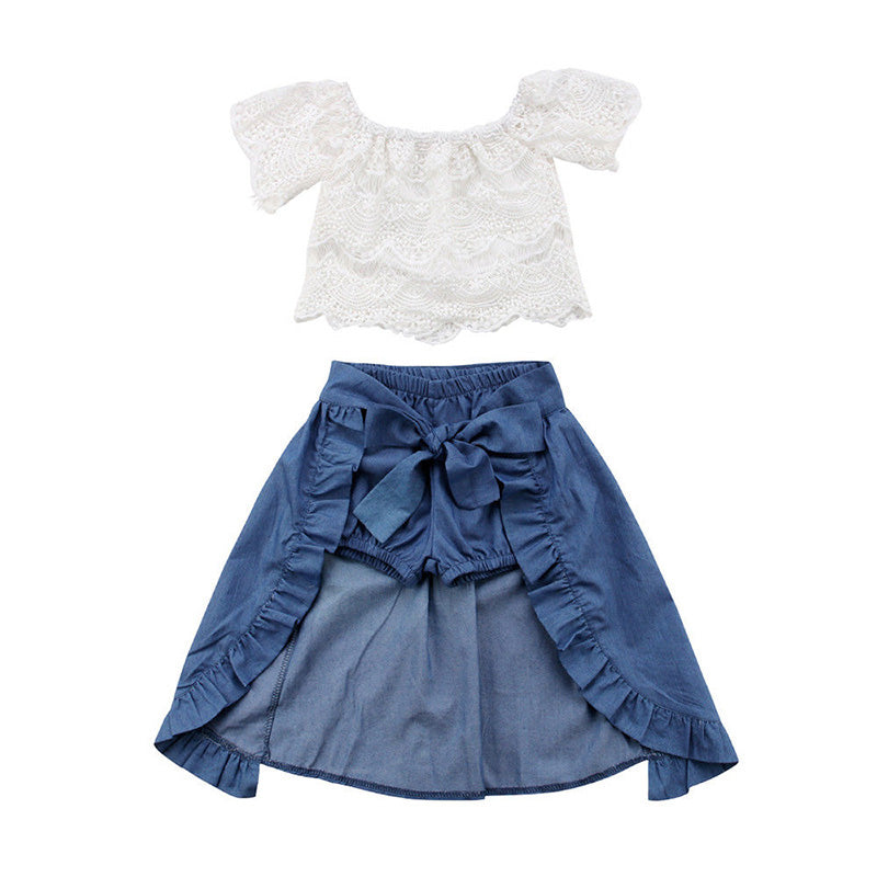 White Lace Top + Denim Skort 3pcs Set