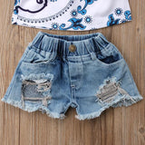 Charlotte Off Shoulder Top + Distressed Shorts