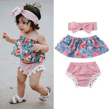 Floral Off Shoulder + Striped Shorts 3pcs Set
