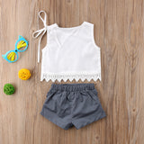 Unicorn Sleeveless Top + Ruffled Shorts