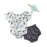 Floral Romper + Shorts 3pcs Set