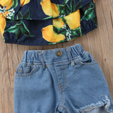 Lemon Crop Top + Distressed Jeans
