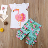 Flamingo Top  + Ruffled Pants