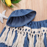 Girls Tassel Denim Off Shoulder Top