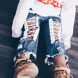 Bandage Distressed Jeans
