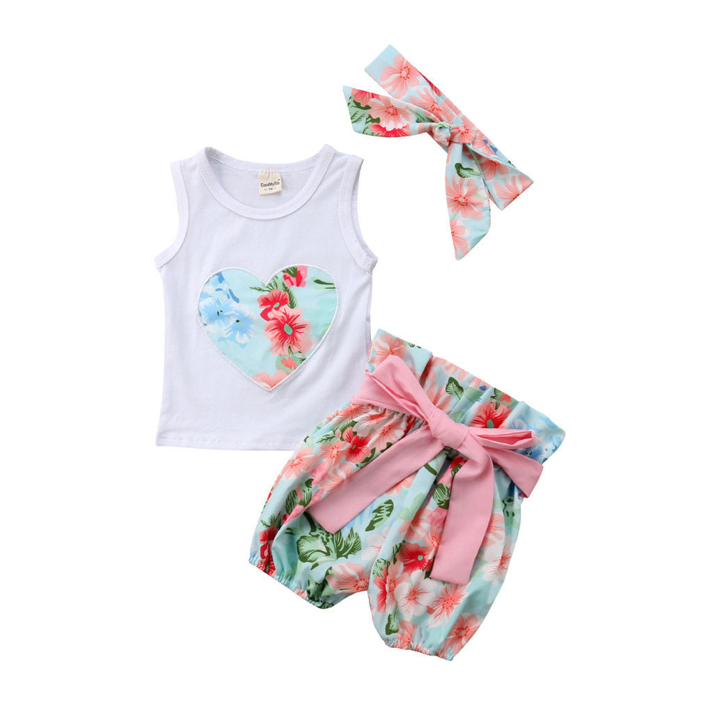Floral Heart + Bow Shorts 3pcs Set