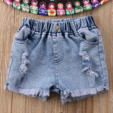 Doll Strap Top + Distressed Shorts
