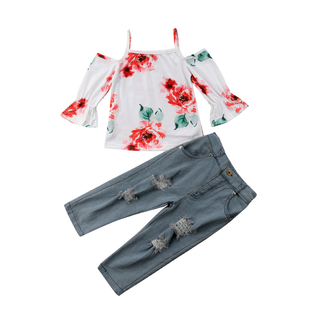 Floral Strap Off Shoulder + Distressed Jeans