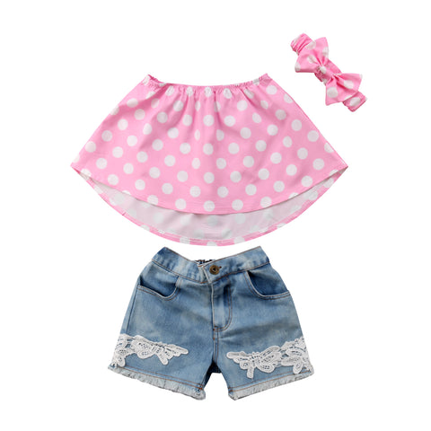 Pink Polka Dot  Top + Denim Shorts 3pcs Set