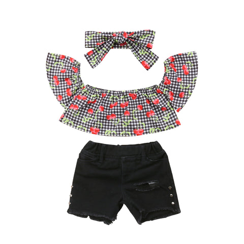 Cherry Plaid Top + Distressed Shorts 3pcs Set