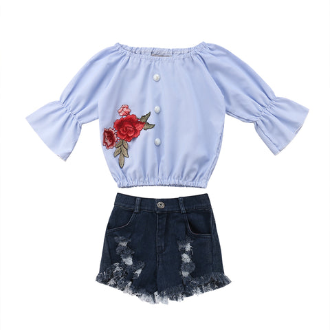 Lucille Off Shoulder Top + Distressed Shorts
