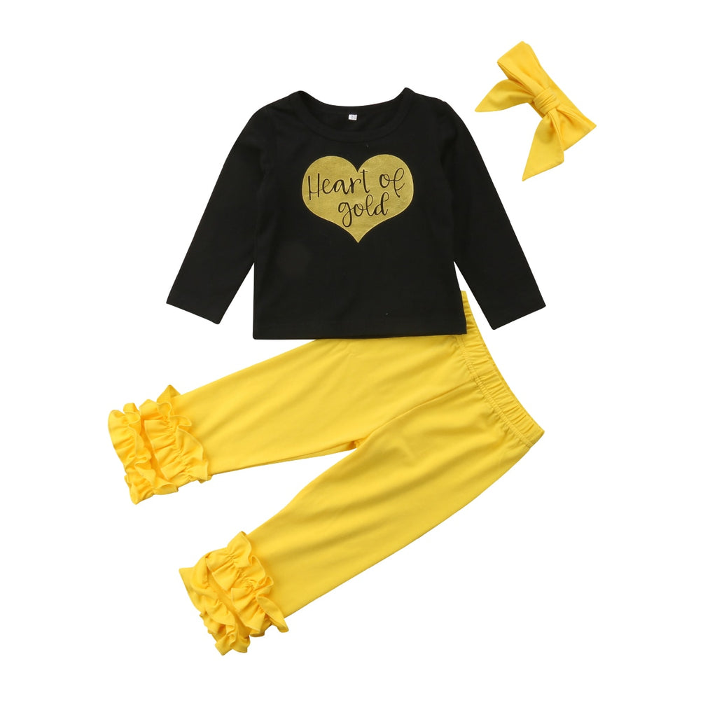 Heart Of Gold Top + Pants 3pcs Set