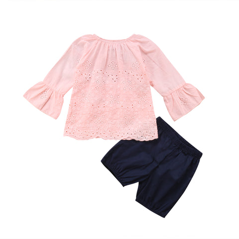 Sleeve Lace Top + Shorts
