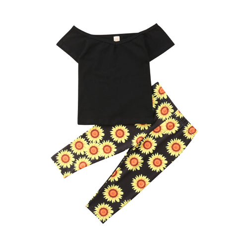 Allison Black Top + Sunflower Pants