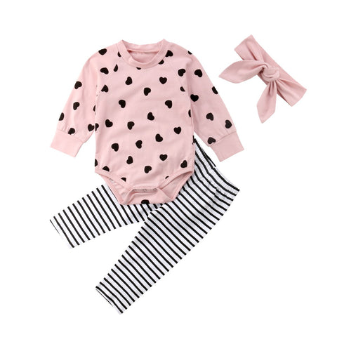 Heart Bodysuit + Stripe Pants 3pcs Set