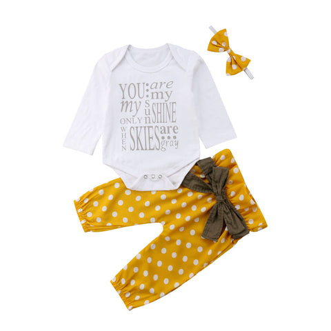 You Are My Sunshine Bodysuit + Pants 3pcs Set