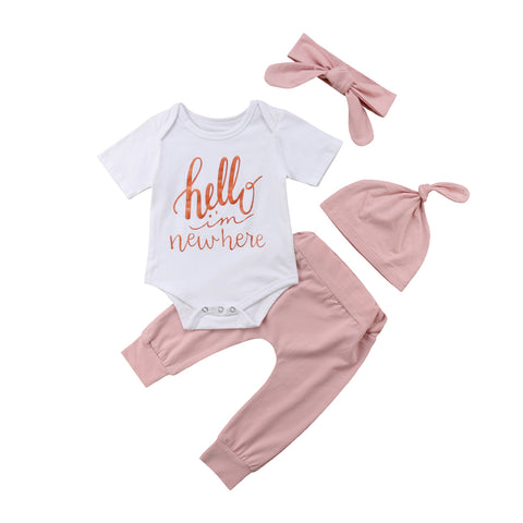 Hello I'm New Here Bodysuit + Pants 4pcs Set