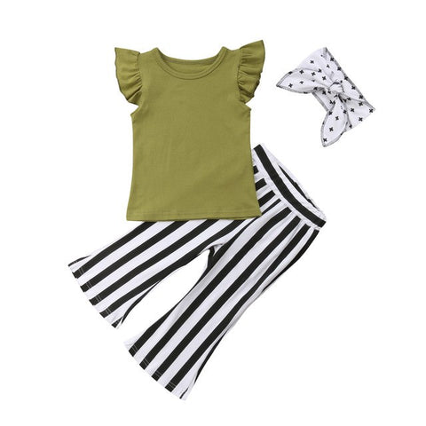 Ruffle Sleeve Top + Stripe Pants 3pcs Set