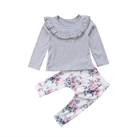 Sleeve Ruffle Grey Top + Floral Pants