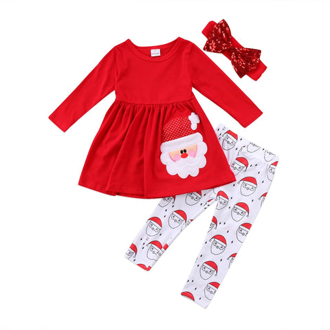 Santa Mini Dress Top + Pants 3pcs Set