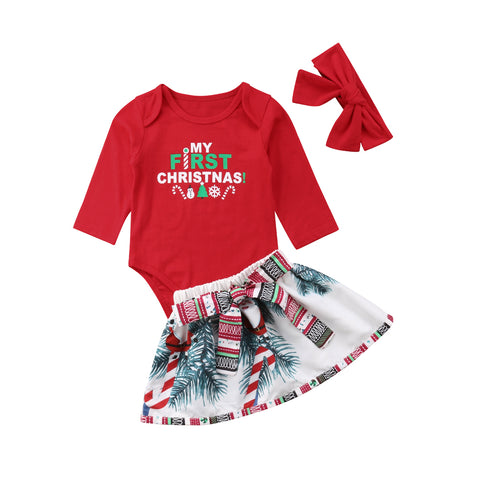 My First Christmas Bodysuit + Tutu Skirt 3pcs Set