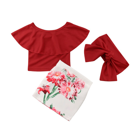 Off Shoulder Red Top + Floral Skirt 3pcs Set