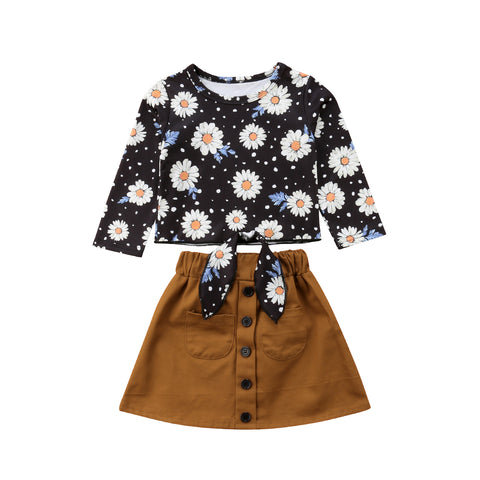 Floral Sleeve Top + Skirt