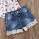 Floral Top + Lace Denim Shorts