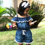 Lace Denim Romper