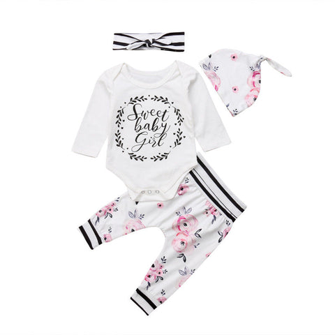 Sweet Baby Bodysuit + Floral Pants 4pcs Set