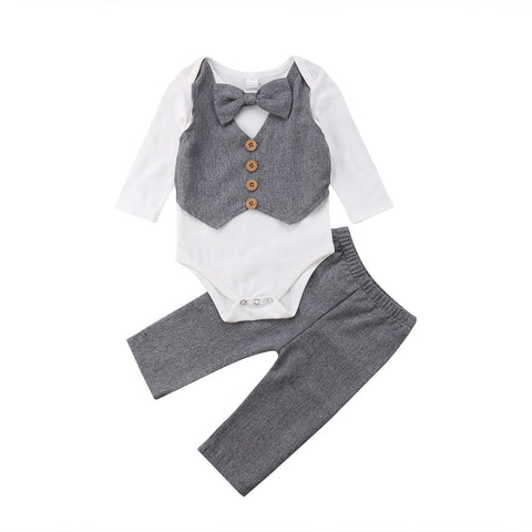 Little Gentleman Bowtie Romper + Pants