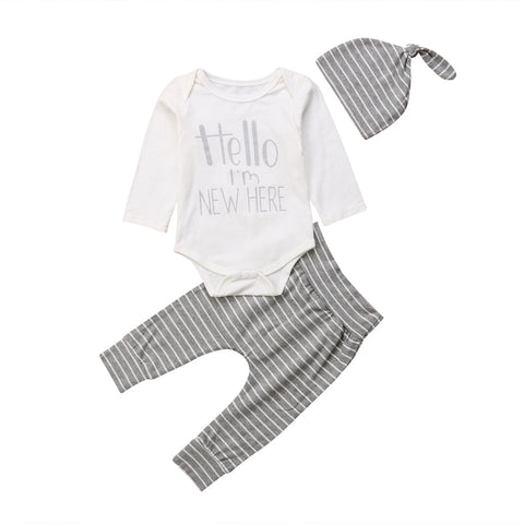 Hello I'm New Here Bodysuit + Stripe Pants 3pcs Set