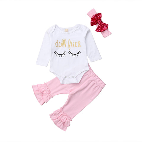 Doll Face Bodysuit + Pants 3pcs Set