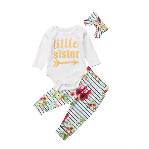 Little Sister Bodysuit + Floral Pants 3pcs Set