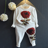 Red Rose Sweatshirt And Pants Set