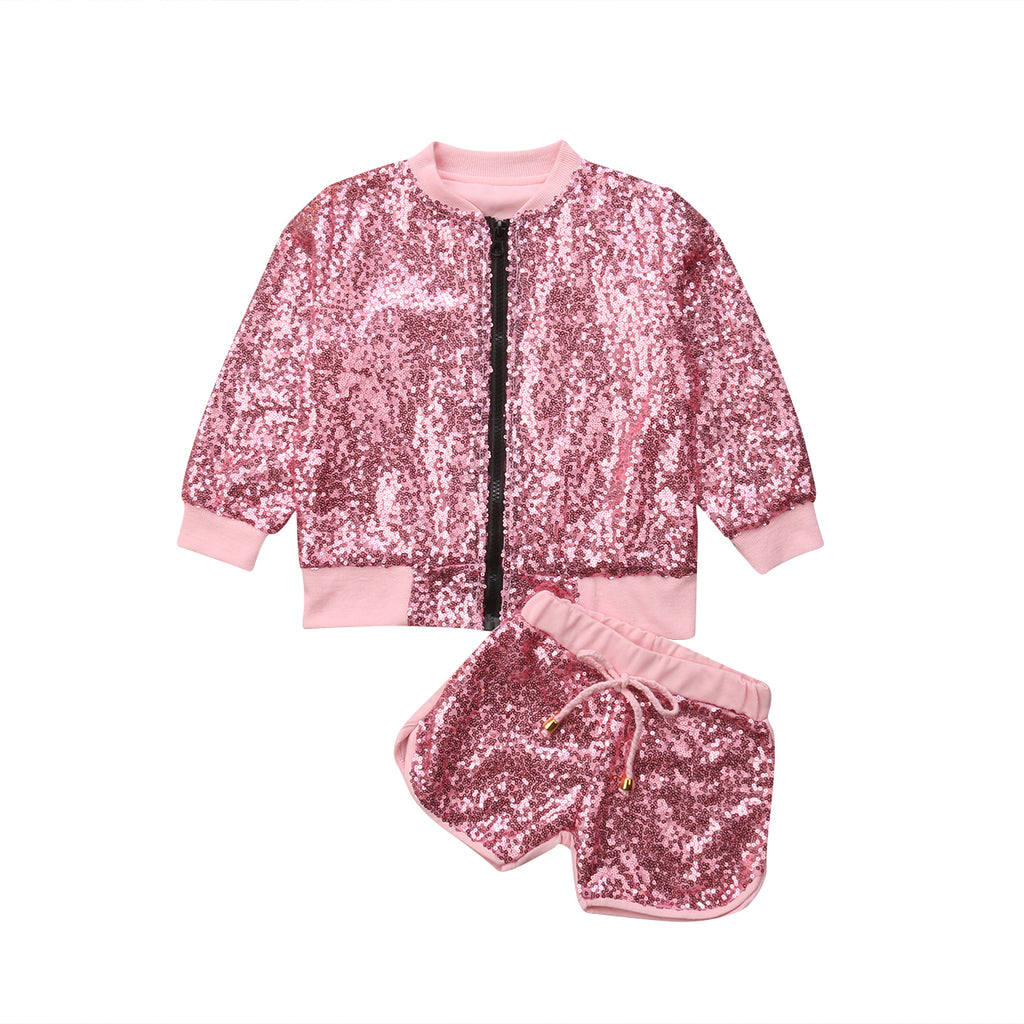 Kids Pink Bling Jacket + Shorts
