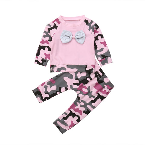 Pink Camo Bowknot Top + Pants