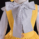 Bowknot Dotted Top + Overall Skirt 3pcs Set