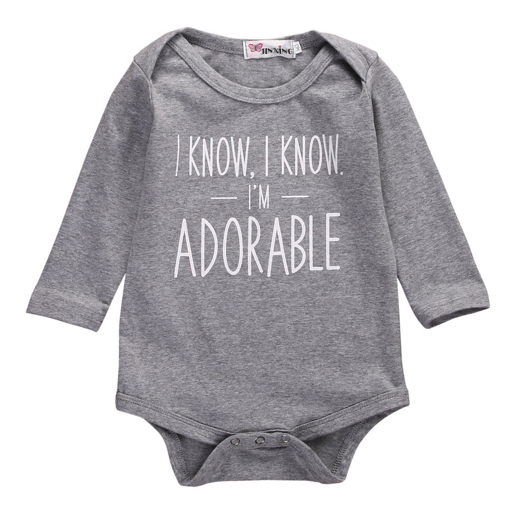 I Know I'm Adorable Soft Gray Long Sleeve Bodysuit