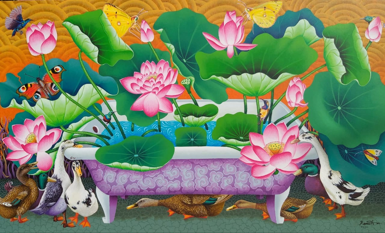 Lotus pond in a Bathtub