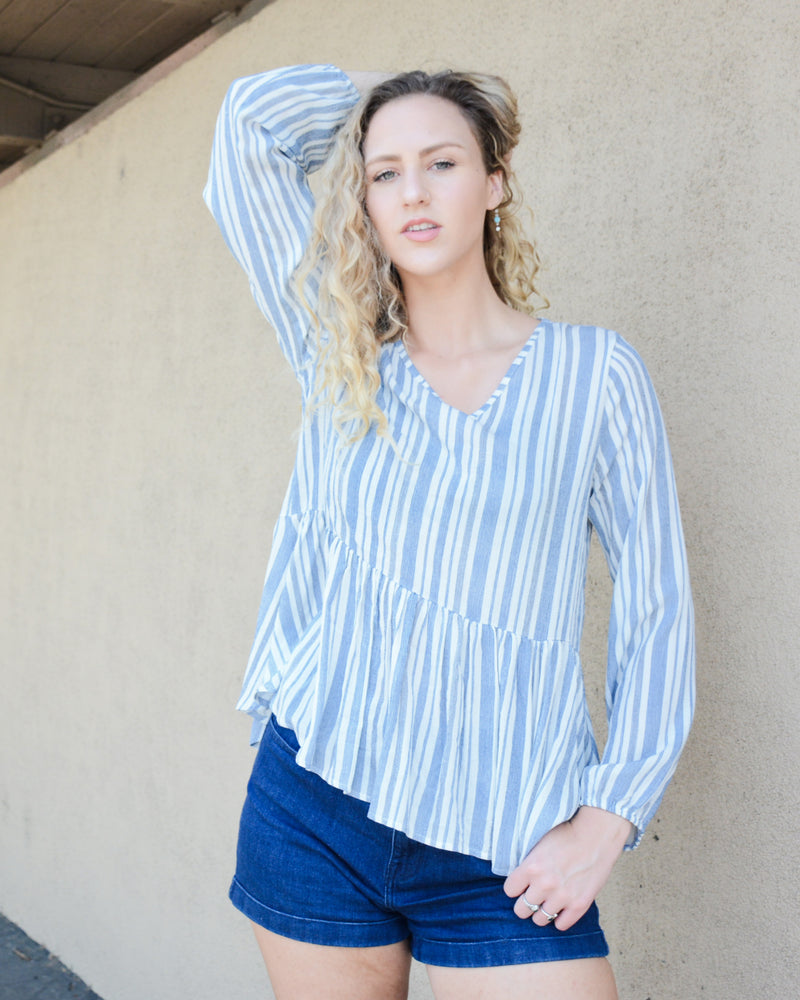 Beachy Striped Baby Doll Top