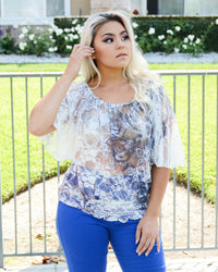 Lacy Butterfly Sleeve Top