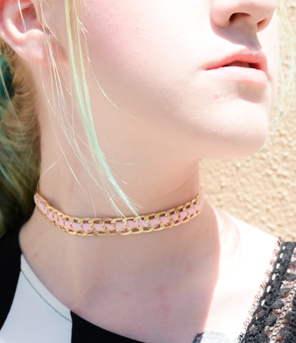Gold Pink Ribbon Choker