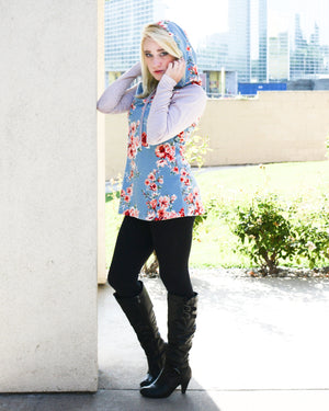 Long Floral Hoodie Solid Sleeves
