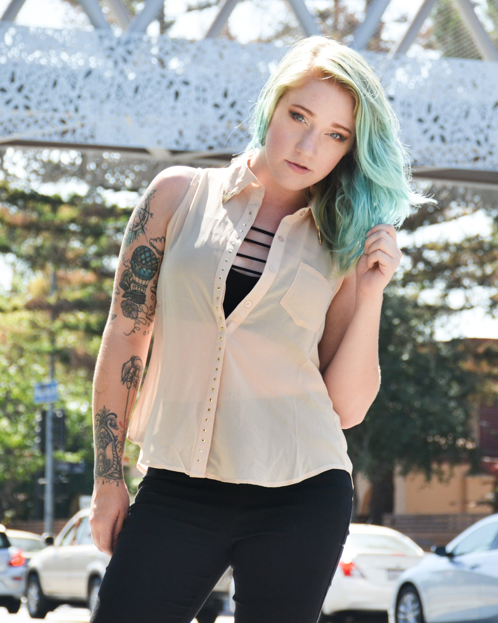 Button Up Collared Tank